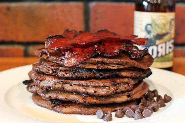 Choc stout pancakes